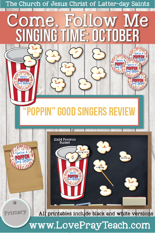 "Come, Follow Me for Primary-2019 October: Singing Time: ""Poppin"" Good Singers Review Game"