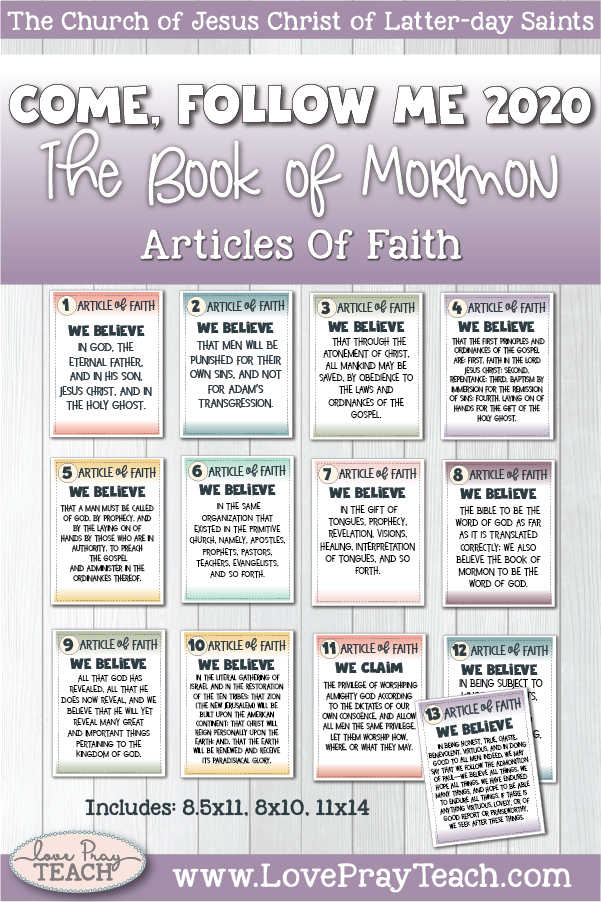 2020 Book of Mormon Come, Follow Me Primary Printable ARTICLES OF FAITH Packet www.LovePrayTeach.com