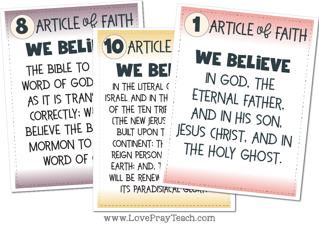 Primary 2020 The Book of Mormon. Articles of Faith Posters