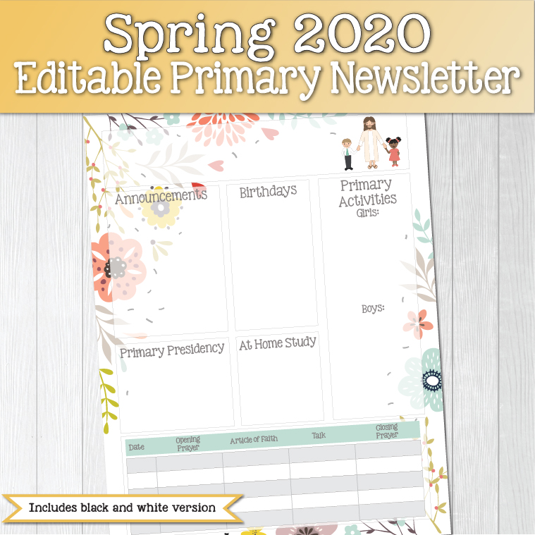 Spring 2020 Editable Primary Newsletter www.LovePrayTeach.com