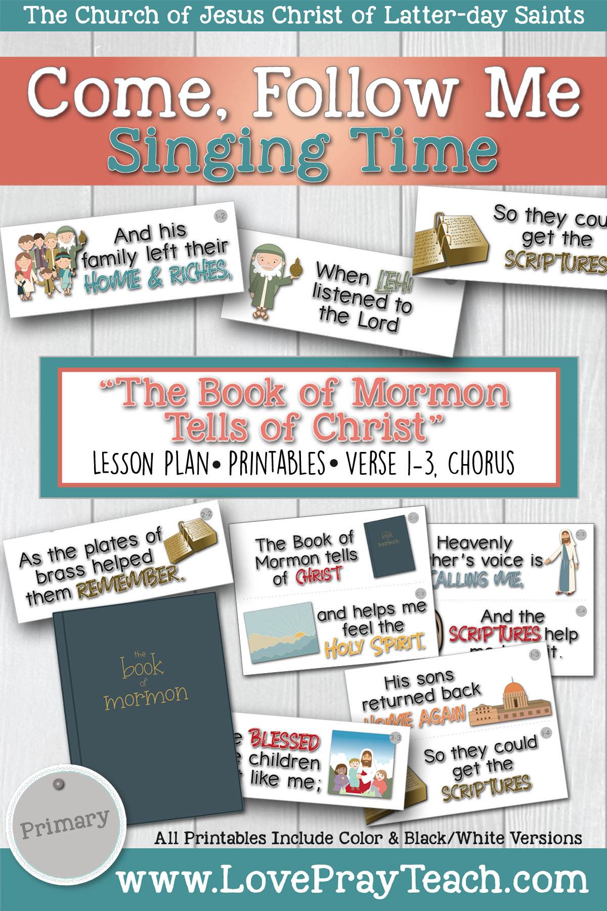 "Come, Follow Me for Primary Singing Time: 2020 """"The Book of Mormon Tells of Christ"" www.LovePrayTeach.com"