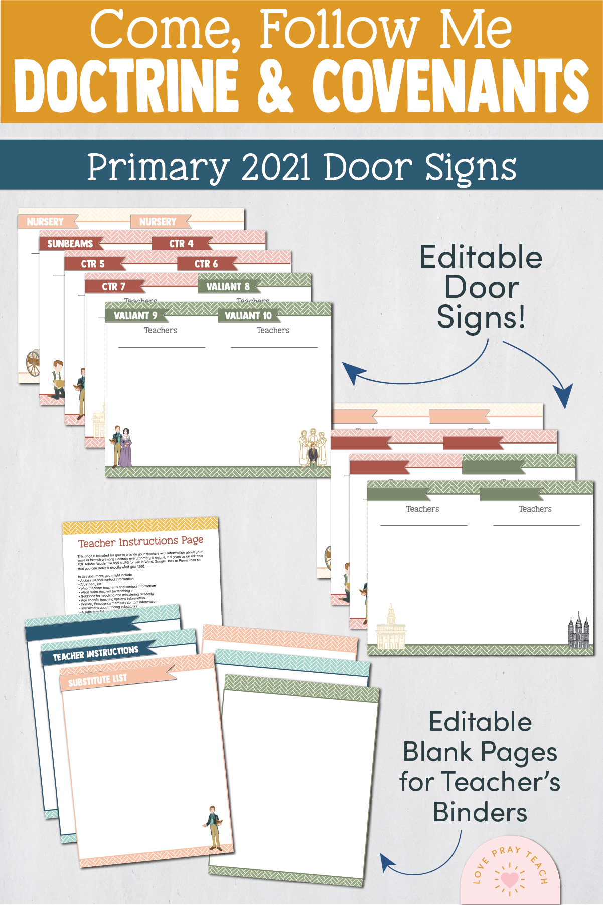 Primary 2021 Doctrine & Covenants Editable Classroom Door Signs www.LovePrayTeach.com