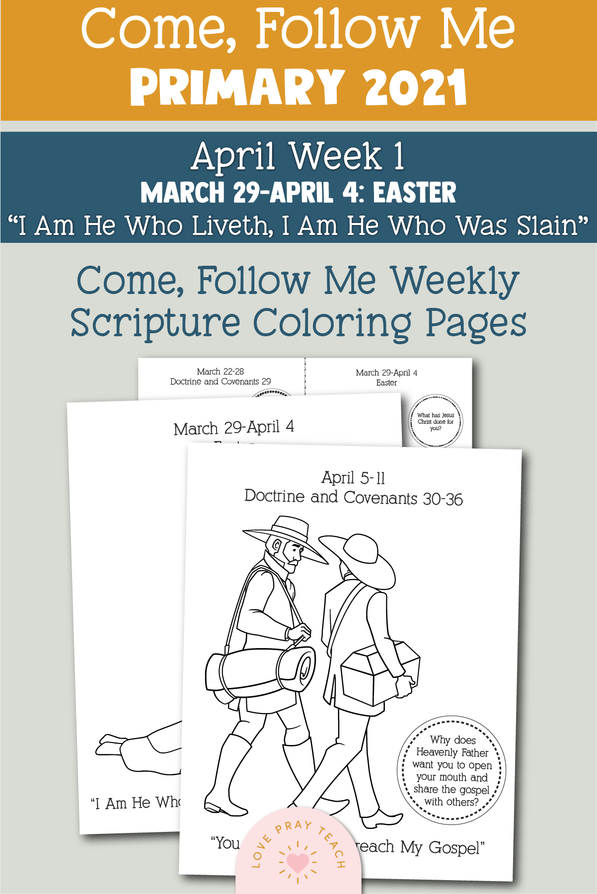 """Come, Follow Me for Primary 2021 March Week 4 Doctrine and Covenants 29 """"Jesus Christ Will Gather His People"""" Printable Lesson Materials"""
