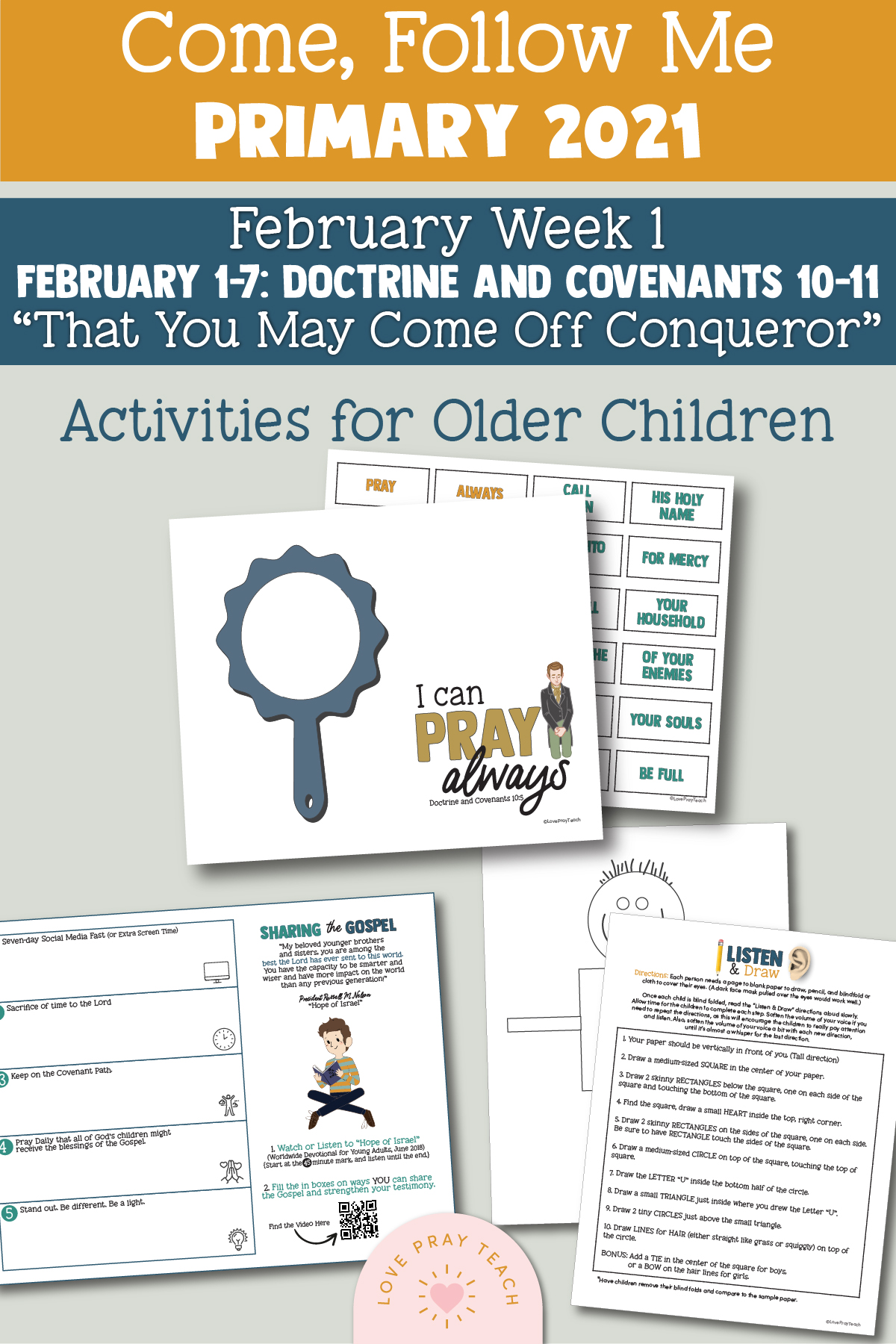"""Come, Follow Me for Primary 2021 February 1-7 Doctrine and Covenants 10-11 """"That You May Come Off Conqueror"""" Printable Lesson Materials"""