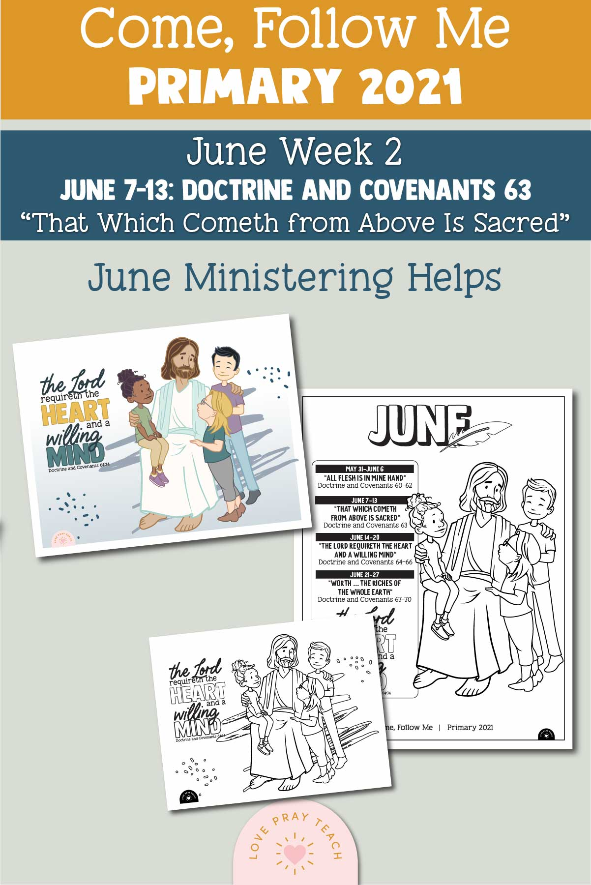 """Come, Follow Me for Primary 2021 June Week 2 Doctrine and Covenants 63 """"That Which Cometh from Above Is Sacred"""" Printable Lesson Materials"""