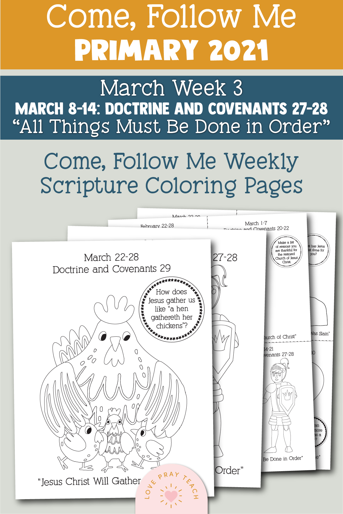 """Come, Follow Me for Primary 2021 March Week 3 Doctrine and Covenants 27-28 """"All Things Must Be Done in Order"""" Printable Lesson Materials"""