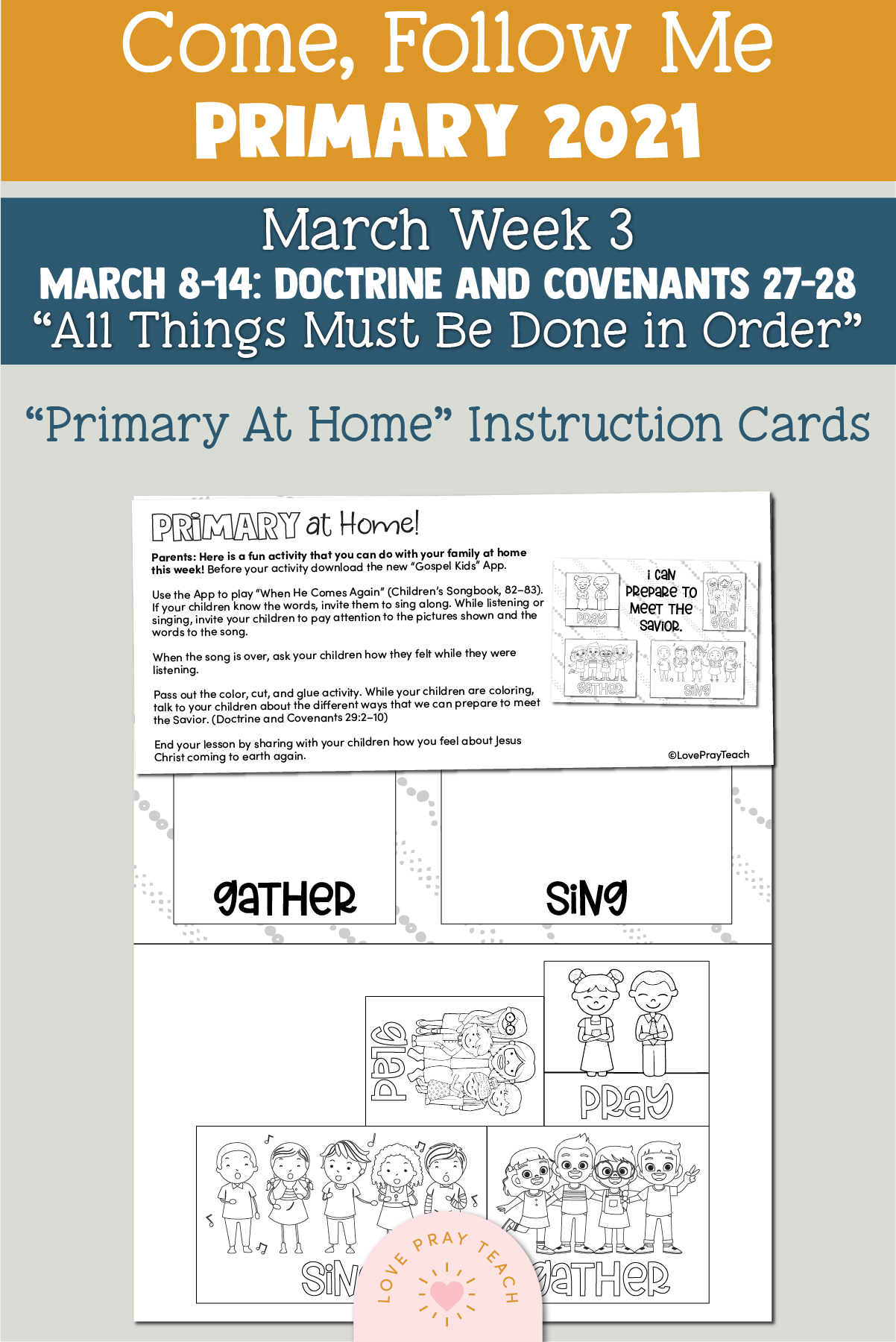 "Come, Follow Me for Primary 2021 March Week 4 Doctrine and Covenants 29 ""Jesus Christ Will Gather His People"" Printable Lesson Materials"