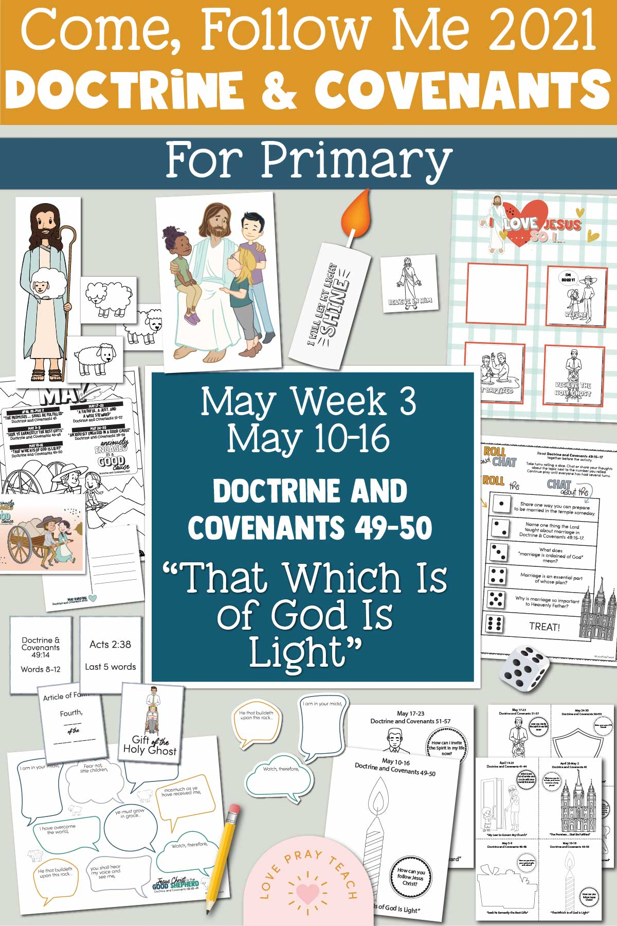 "Come, Follow Me for Primary 2021 May Week 3 Doctrine and Covenants 49-50 ""That Which Is of God Is Light"" Printable Lesson Materials"