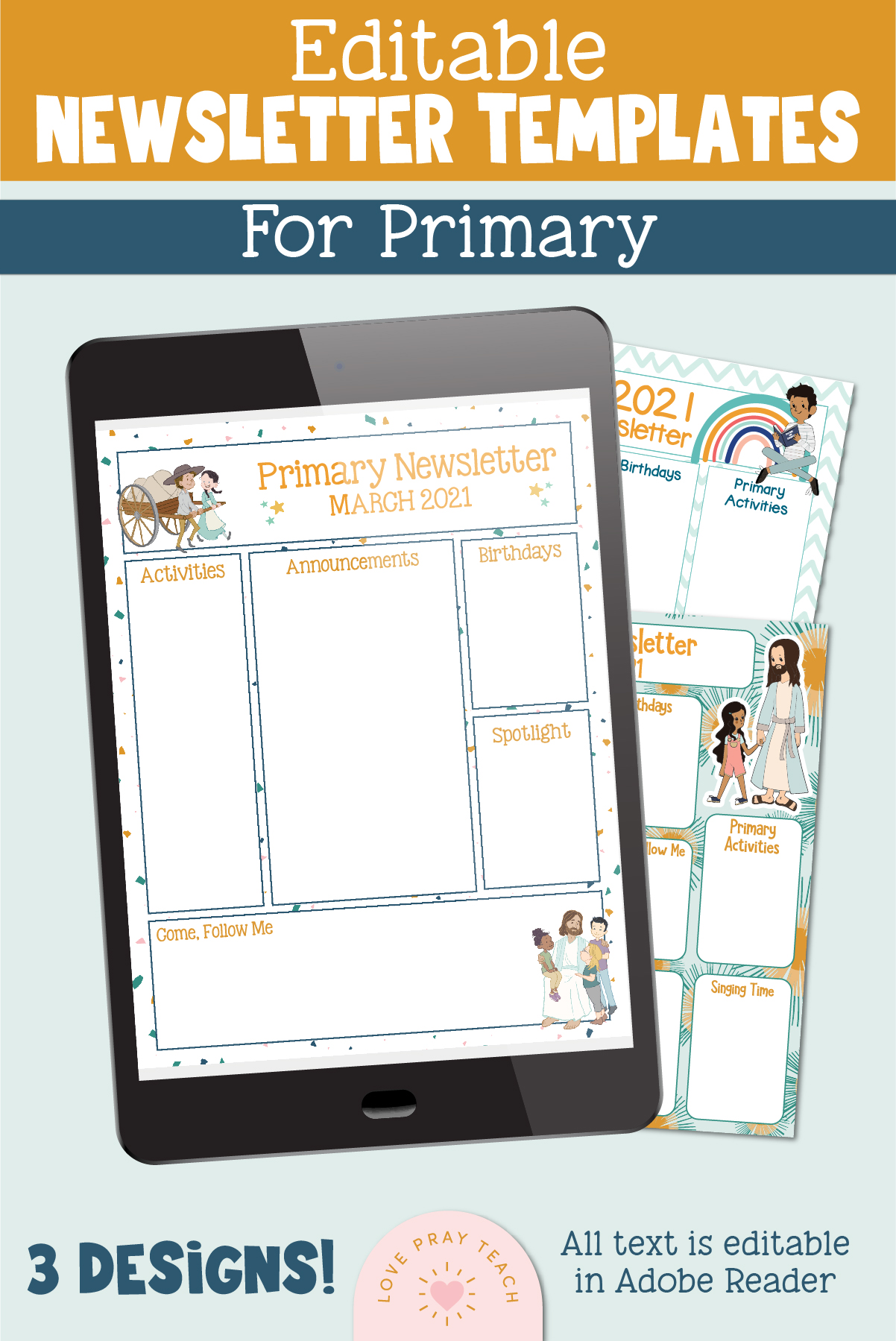 Editable Primary Newsletter Template Bundle - 3 Designs! www.LovePrayTeach.com