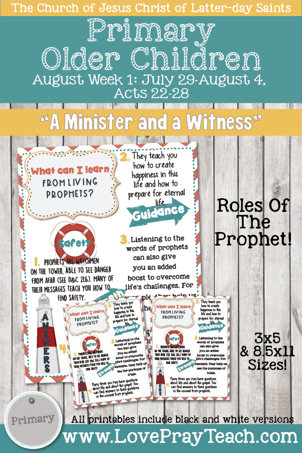 "Come, Follow Me for Primary 2019- New Testament, August Week 1: July 29-Aug 4, Acts 22-28 ""A Minister And A Witness"" OLDER CHILDREN"