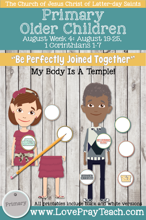 """Come, Follow Me for Primary 2019- New Testament, August Week 4: August 19-August 25, 1 Corinthians 1-7 """"Be Perfectly Joined Together"""" OLDER CHILDREN"""