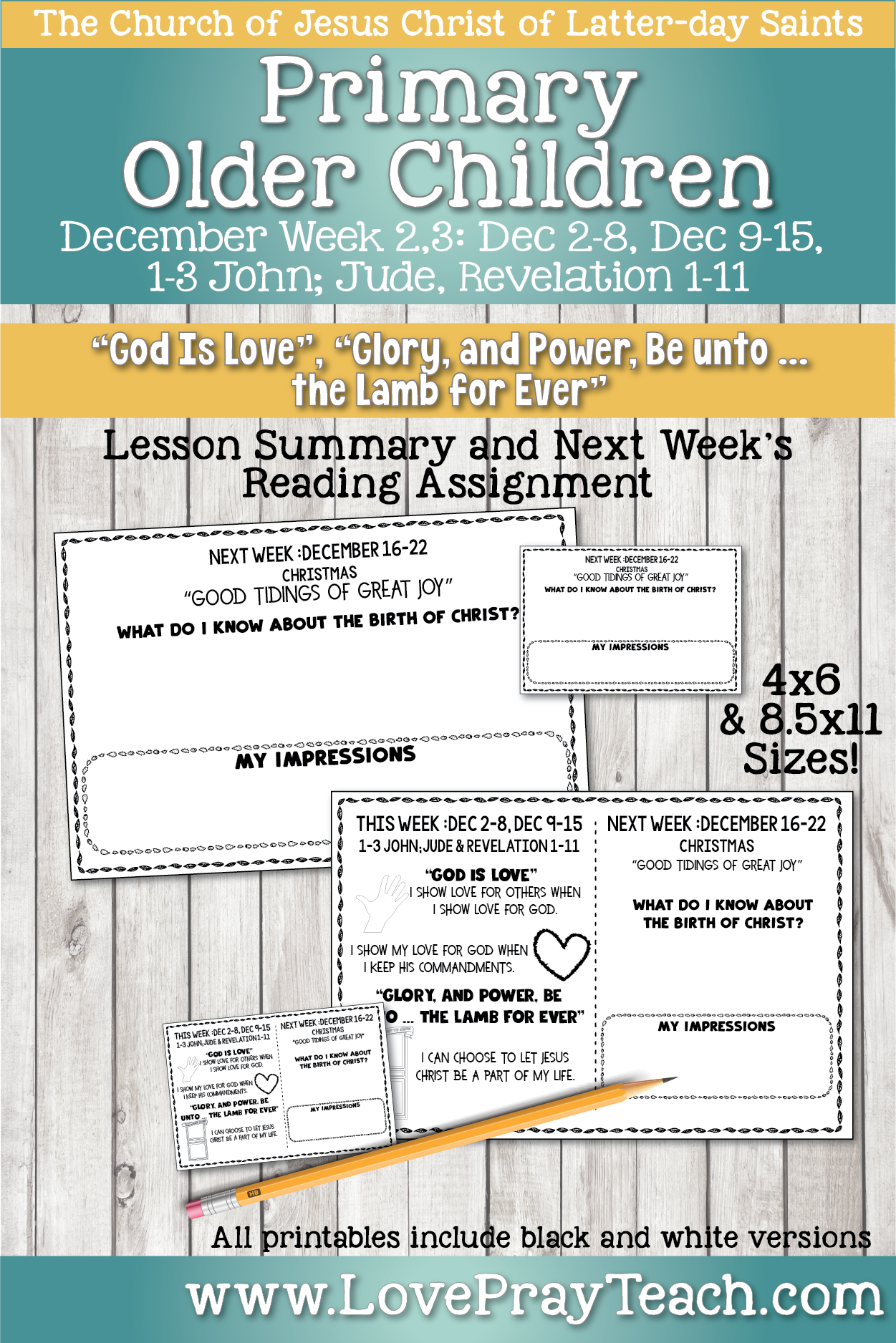 Come, Follow Me for Primary 2019- New Testament, December Week 2,3 Dec 2-8, Dec 9-15, 1-3 John;Jude and Revelations 1-11