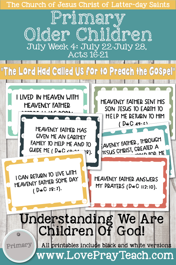 """Come, Follow Me for Primary 2019- New Testament, July Week 4: July 22-July 28, Acts 16-21 """"The Lord Had Called Us For To Preach The Gospel"""" OLDER CHILDREN"""
