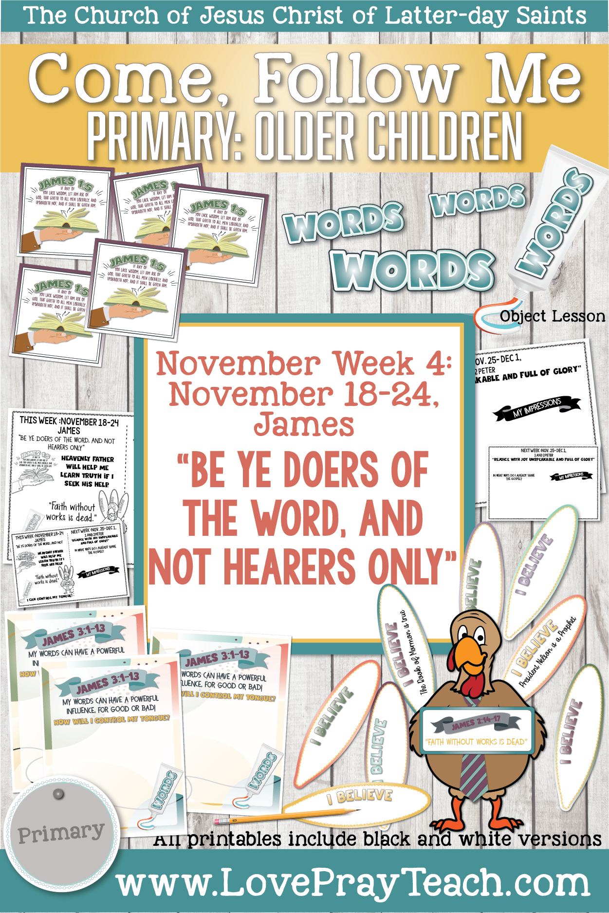"""Come, Follow Me for Primary 2019- New Testament, November Week 4: November 18-24, James; """"Be Ye Doers Of The Word, And Not Hearers Only"""" OLDER CHILDREN"""